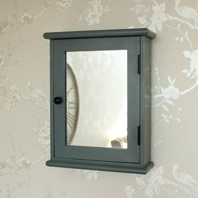 Grey wooden mirrored wall cabinet shabby French chic bathroom storage shelves