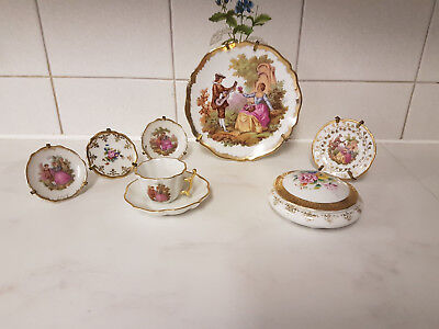 7 Pce Set Beautiful Porcelain Limoges Plates With Stands Cup Saucer Pill Box