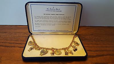 DANBURY MINT 23kt ELECTROPLATED GOLD SHIRLEY TEMPLE 10 CHARM NECKLACE W/ CERT. A