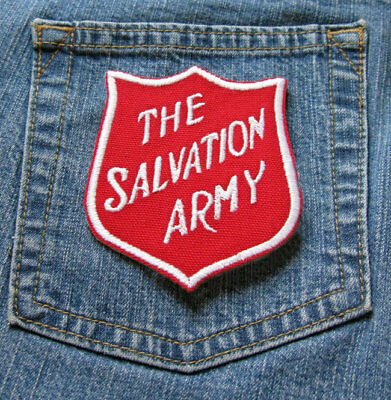 The Salvation Army Logo White on Red Sew On Iron On Embroidered Clothing PATCH