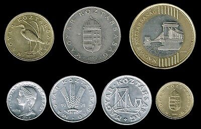 "HUNGARY :- 7 different  late 20th. - 21st. century ""Republic""  coins. ADP6234"