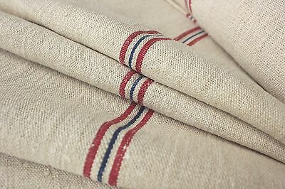 Grain sack grainsack fabric vintage linen upholstery HEMP RED + BLUE blue 9.25