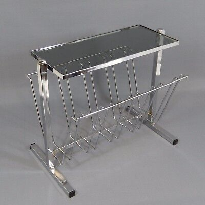 1970's Chrome and Smoked Glass Magazine Rack Table Vintage Retro Mid Century