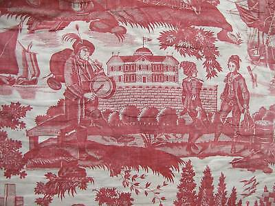 Antique French 18thc toile de Jouy 4 poster Bed cover