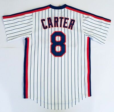 Majestic New York Mets Gary Carter #8 MLB Cooperstown Baseball Jersey Shirt S, M