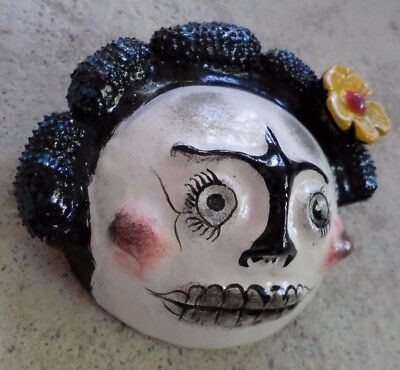Mexican Folk Art Hand Painted Coconut Shell Wall Mask Day of Dead Skull Catrina
