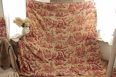 Toile de Jouy  L'Abreuvoir 1792 18th century bed cover red fabric period bedding