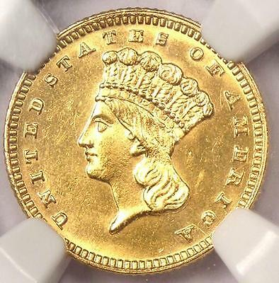 1887 Indian Gold Dollar Coin G$1 - Certified NGC Uncirculated Details (UNC MS)