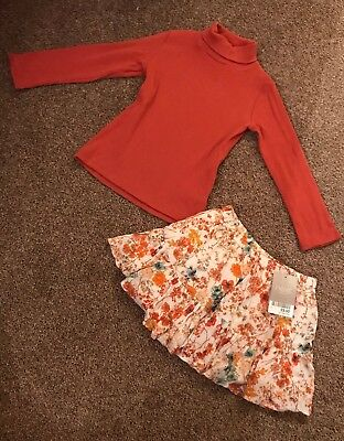 Next Girls Polo Neck And Skirt 12-18months BNWT