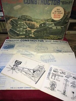 "Erector Set Constructor ""5in1"" Military Vehicles Gilbert 1950s Child Toy Steel"