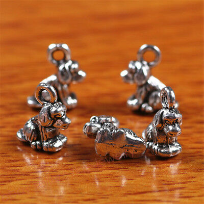 10 Pieces 10mm 3D Papillon Dog Charms Tibetan Silver DIY Jewelry Findings 7240C