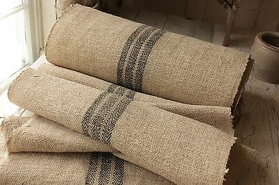 BLACK Grainsack fabric grain sack faded hemp Upholstery organic Linen  RARE
