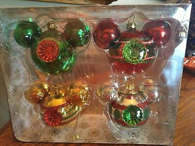 disney parks mickey mouse set of 4 glass ball ornament glitter accent new w box