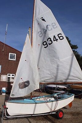 Heron Sailing Dinghy with full cover, launching trolley, road trailer