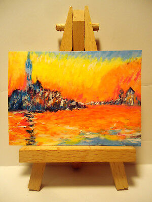 Venice Twilight ACEO Original PAINTING by Ray Dicken a Claude Monet