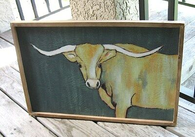 Longhorn COW Wall PICTURE*Wood Frame*Primitive/French Country/Farmhouse Decor
