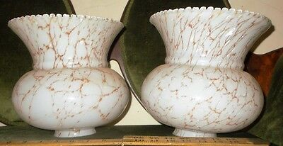 "Pick Up ONLY - 2 old milk Glass light Shades - Lge 9""x9"" c1900-20, marbling,Exc"
