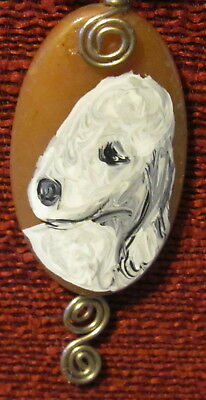 Bedlington Terrier hand painted on oval wire wrapped pendant/bead/necklace