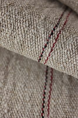 Antique linen homespun hemp 4.1 yards black + red stripes NUBBY fabric material