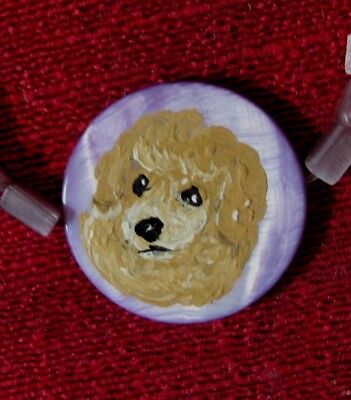 Poodle puppy hand painted on lavendar Mother of Pearl pendant/bead/necklace