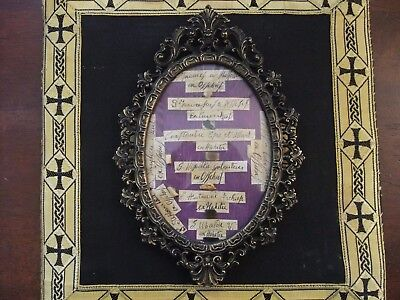 Reliquia Relic S. Francesco Assisi + 6 Santi E 2 Beati In Teca Metallo Documento