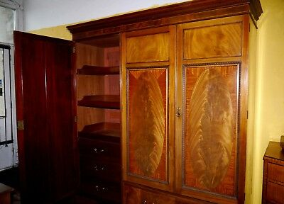 A Fine Jas Shoolbred Compactum Press Wardrobe In Mahogany And Satinwood C.1880