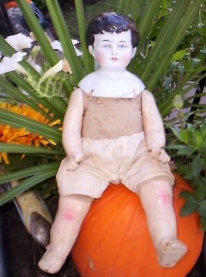 Antique China Head Doll Cloth Body Composition Limbs 15 1/2 Inches