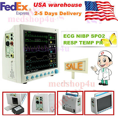 CE FDA Approved Patient Monitor with-ECG-NIBP-SPO2-Pulse-Rate-Resp.U.S seller