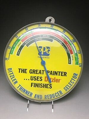 PPG Industries Ditzler Paint Thinner Reducer Advertising Thermometer Vintage