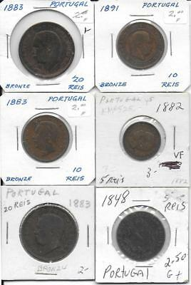 Portugal lot of six (6) coins all dated in the 1800's old