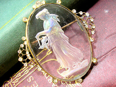Beautiful Antique Paste Lalique Style Cameo Intaglio Glass Brooch French