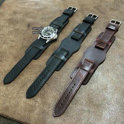 Size 20/22mm Vintage Oily Brown Leather Pilot Bund Style Watch Strap Band  #015