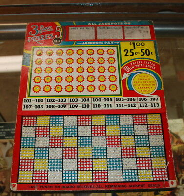Vintage Unpunched Gambling Punch Board
