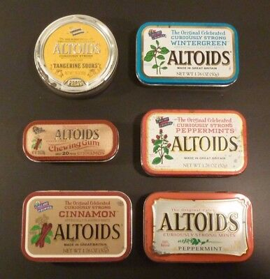 Lot of 6 ~ Empty Altoids Metal Tins ~ Different Styles ~ Sours Chewing Gum Mints