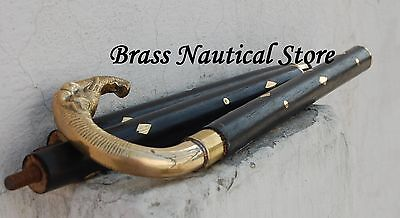 Vintage solid brass handle antique style Victorian cane wooden walking