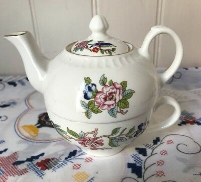 Aynsley Floral China Teapot & Cup ~Tea For One Set