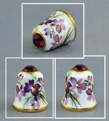Sutherland Jawel Crowned Flower Swarovski Top Thimble # 6