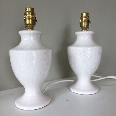 PAIR of cream crackle-glaze lamps - urn-shaped - PRETTY & EXCELLENT
