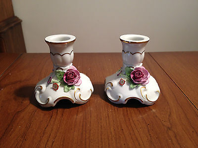Dresden Hand Painted Floral Applique Candle Holders