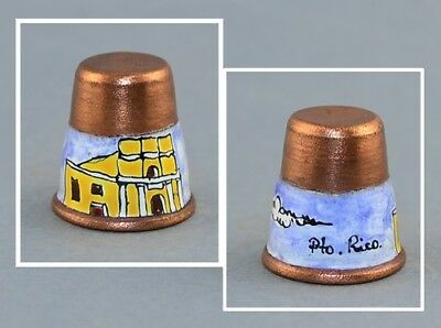 Puerto Rico Copper Hand Painted Thimble
