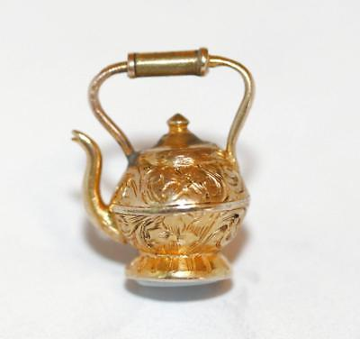 Antique 9k Gold Teapot Charm / Repousee / Sardonyx Seal Fob / Small