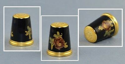 Germany Enamel Black Thimble - Rose