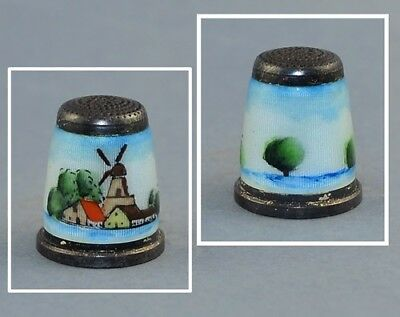 Germany Thimble Enamel Hand Painted Thimble - Windmill