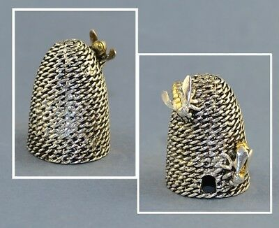Beehive With Gold Bee Thimble