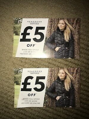2 x £5 off PEACOCKS Vouchers. In-store or Online