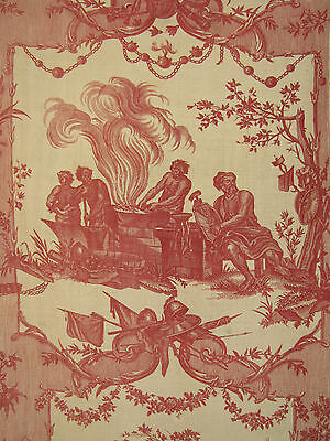 Antique French 18th century toile de Jouy Oberkampf 1783-1789 fabric