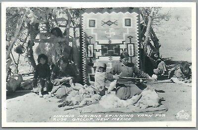 Navajo Indians Spinning Yarn - Gallup New Mexico NM - Frasher's RPPC Postcard