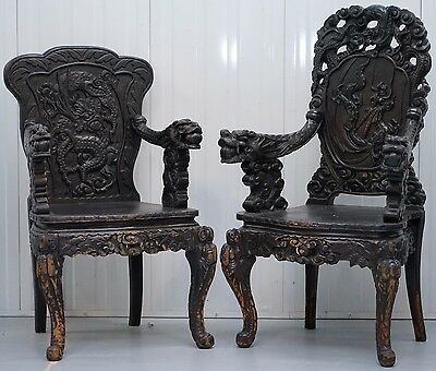 Pair Of Circa1870 Qing Dynasty Carved Rosewood Chinese Dragon Dogs Throne Chairs