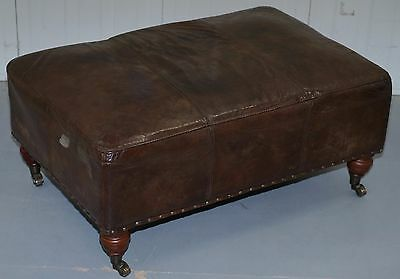 Rrp £899 Halo Balmoral Heritage Brown Leather Large Footstool Ottoman Nice Find