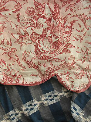 Antique French c1840 bed  valance pelmet Alsace toile + Ikat Flamme